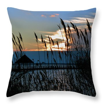 Throw Pillow featuring the photograph Ocean City Sunset At Northside Park by Bill Swartwout