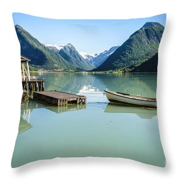 Reflection Of A Boat And A Boathouse In A Fjord In Norway Throw Pillow
