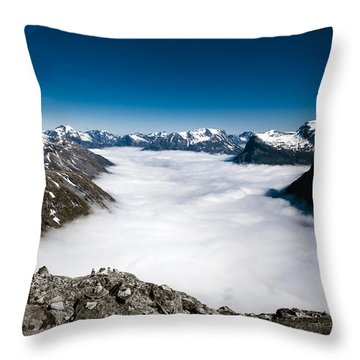 Norway In The Clouds Throw Pillow