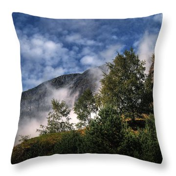 Throw Pillow featuring the photograph Norway Mountainside by Jim Hill