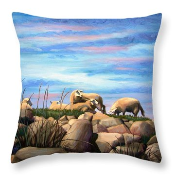 Throw Pillow featuring the painting Norwegian Sheep by Janet King