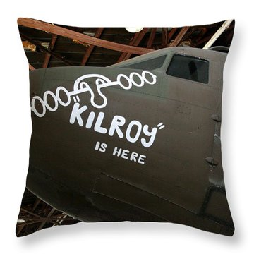 Nose Art Kilroy Was Here Throw Pillow by David Dunham