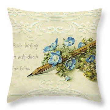 Throw Pillow featuring the digital art Nostalgic Greeting Card by Sandra Foster