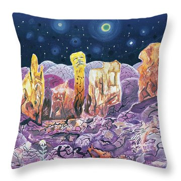 Not From Earth, 1973 Oil On Canvas Throw Pillow