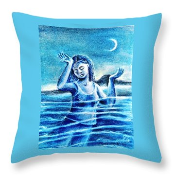 Throw Pillow featuring the painting Not Waving But Drowning by Trudi Doyle
