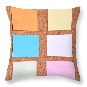 Notes On A Bulletin Board Throw Pillow by Luis Alvarenga