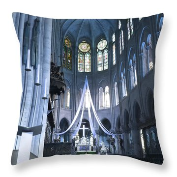 Notre Dame Altar Teal Paris France Throw Pillow