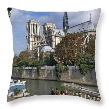 Notre Dame Cathedral. Paris Throw Pillow by Bernard Jaubert