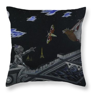 Notre Dame Cathedral While Paris Sleeps Throw Pillow by Gerald Strine