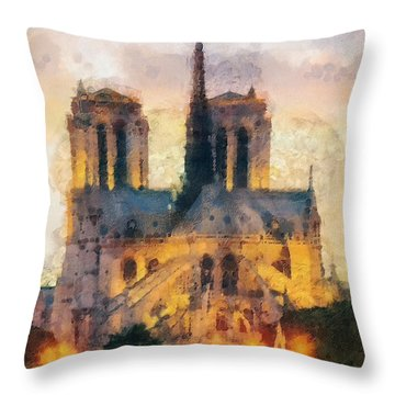 Notre Dame De Paris Throw Pillow by Mo T
