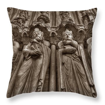 Notre Dame Facade Detail Throw Pillow