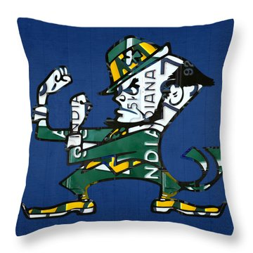 Notre Dame Fighting Irish Leprechaun Vintage Indiana License Plate Art  Throw Pillow