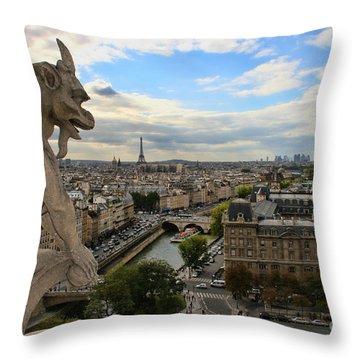 Notre Dame Gargoyle Throw Pillow