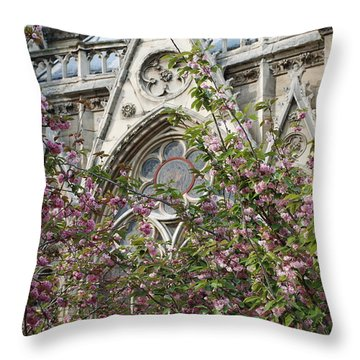 Notre Dame In April Throw Pillow by Jennifer Ancker