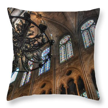 Throw Pillow featuring the photograph Notre Dame Interior by Jennifer Ancker
