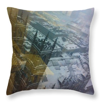 Notre Dame On The Vertical Throw Pillow by Valerie Rosen