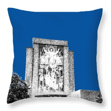 Notre Dame University Skyline Hesburgh Library - Royal Blue Throw Pillow by DB Artist