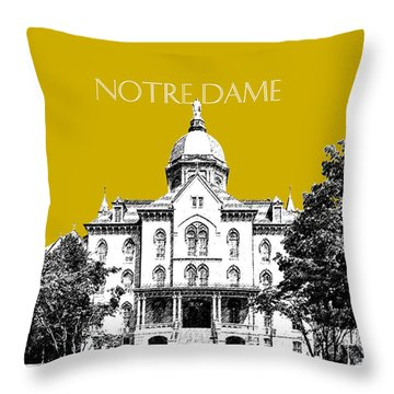 Notre Dame University Skyline Main Building - Gold Throw Pillow by DB Artist