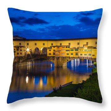 Notte A Ponte Vecchio Throw Pillow by Inge Johnsson