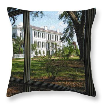 Nottoway Through The Window Throw Pillow by Nadalyn Larsen