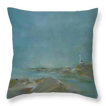 Throw Pillow featuring the painting Nova Scotia Fog by Judith Rhue