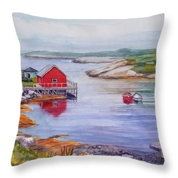 Nova Scotia Harbor Throw Pillow