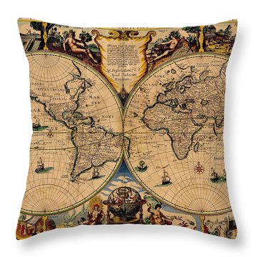 Nova Totius Terrarum Orbis Geographica Ac Hydrographica Tabula Old World Map Throw Pillow by Inspired Nature Photography Fine Art Photography