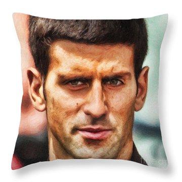 Novak Djokovic Throw Pillow by Nishanth Gopinathan
