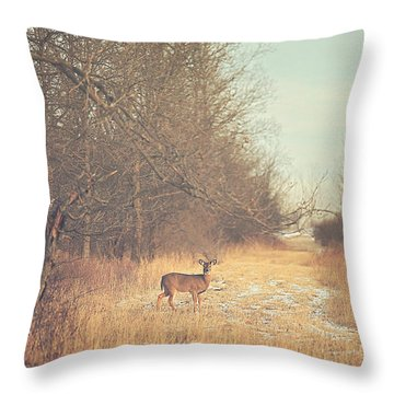 November Deer Throw Pillow by Carrie Ann Grippo-Pike