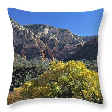 Throw Pillow featuring the photograph November In Sedona by Penny Meyers