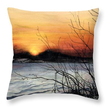 November Sunset Throw Pillow by Barbara Jewell