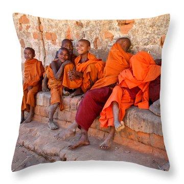 Novice Buddhist Monks Throw Pillow