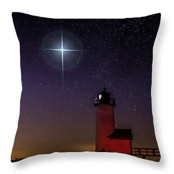 Star Over Annisquam Lighthouse Throw Pillow