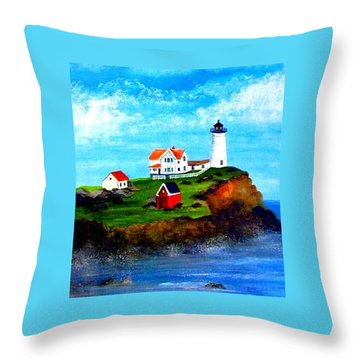 Nubble Light Throw Pillow by David Richardson