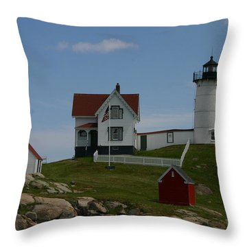 Throw Pillow featuring the photograph Nubble Light House York Maine by Denyse Duhaime