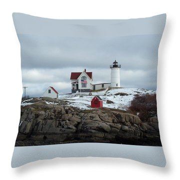 Throw Pillow featuring the photograph Nubble Light In December by Barbara McDevitt