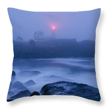 Nubble Light In Foggy Dawn Throw Pillow