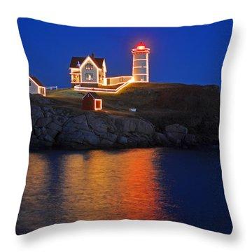 Nubble Light In York Me Cape Neddick Christmas Blue Sky Throw Pillow