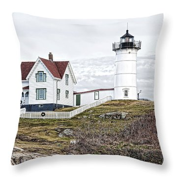 Throw Pillow featuring the photograph Nubble Light by Richard Bean