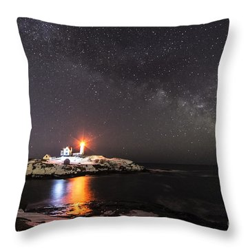 Nubble Light With Milky Way Throw Pillow
