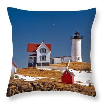 Nubble Lighthouse 3 Throw Pillow by Joann Vitali