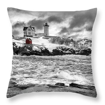 Nubble Lighthouse After The Storm Throw Pillow