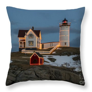 Nubble Lighthouse At Christmas Throw Pillow