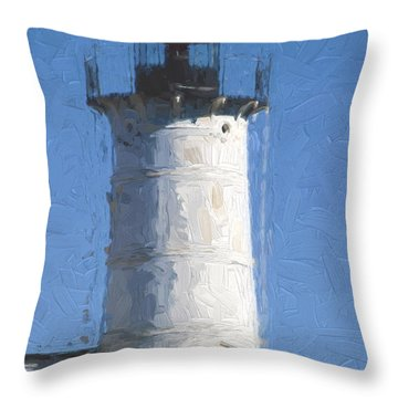 Nubble Lighthouse Maine Painterly Effect Throw Pillow