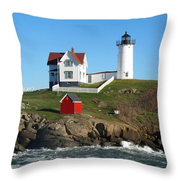 Nubble Lighthouse One Throw Pillow