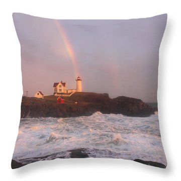 Nubble Lighthouse Rainbow And Surf At Sunset Throw Pillow by John Burk