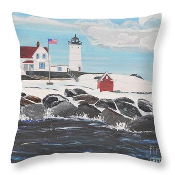 Nubble Lighthouse Throw Pillow by Sally Rice