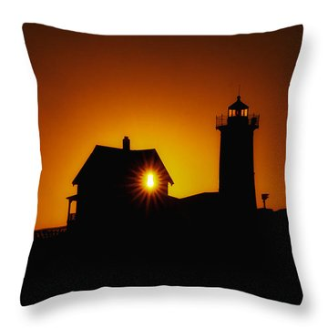 Nubble Lighthouse Sunrise Starburst Throw Pillow by Scott Thorp