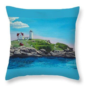 Nubble Lighthouse Sunrise Throw Pillow