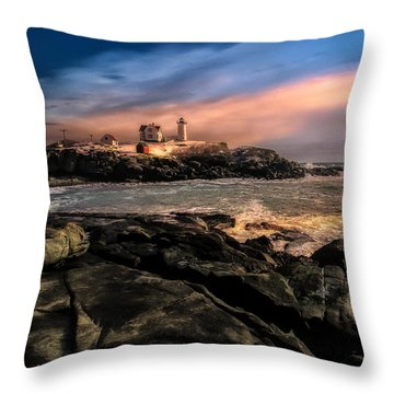 Nubble Lighthouse Winter Solstice Sunset Throw Pillow by Bob Orsillo